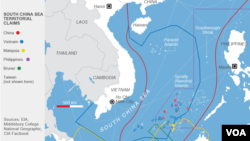 South China Sea territorial claims conflict at the Spratly and Paracel Islands.