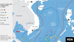 """Bản đồ Biển Đông với đường """"Lưỡi bò"""" do Trung Quốc vẽ nên."""