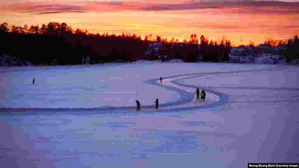 دریاچۀ یخ زدۀ اسکر در ناروی