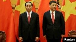 Chủ tịch Việt Nam Trần Đại Quang và Chủ tịch Trung Quốc Tập Cận Bình gặp mặt tại Đại lễ đường nhân dân Trung Quốc hôm 11/5.