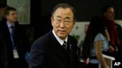 지난 7일 소치 동계올림픽 개막식 참석을 위해 경기장에 도착한 반기문 유엔 사무총장.