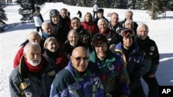 A group of retirees in Alta, Utah, enjoy skiing and happiness together in this file photo.