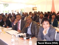 Business executives attending the ZITF Business Conference on Wednesday.