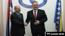Šefovi diplomatija Srbije i BiH, Ivan Mrkić i Zlatko Lagumdžija, tokom susreta u Sarajevu