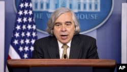 Energy Secretary Dr. Ernest Moniz speaks to the media during the daily briefing in the Brady Press Briefing Room of the White House in Washington, Monday, April 6, 2015.