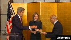 美国国务卿克里欢迎肯尼迪出任美驻日本大使(国务院视频截图)