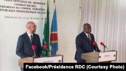 Umukuru w'akana ka Buraya, Charles Michel (ibubamfu) na Perezida Félix Tshisekedi i Kinshasa, RDC, kw'itariki ya 29/04/2021
