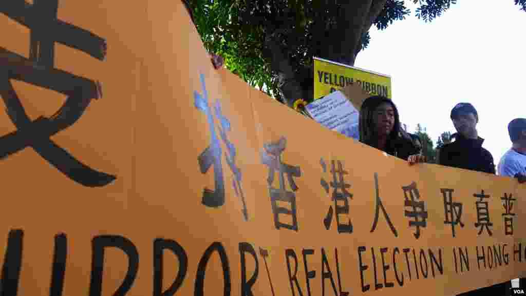 洛杉矶华人支持港人争取真普选(美国之音国符拍摄)