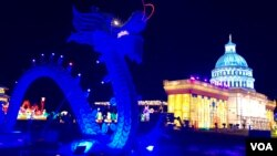 资料照:中国四川自贡灯贸集团在美国维吉尼亚州劳登郡举办的灯会所展示的中国龙与美国国会大厦。(2018年12月22日)