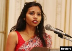 FILE - Devyani Khobragade at India's Consulate General, New York, June 19, 2013.