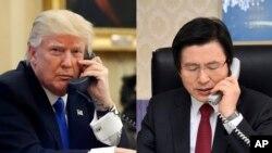 도널드 트럼프 미국 대통령(왼쪽)과 황교안 한국 대통령 권한대행 국무총리가 워싱턴 시간으로 5일 늦게 전화통화를 하고 북한의 탄도미사일 발사 대응책을 논의했다. (자료사진)