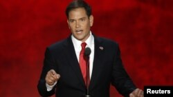 U.S. Senator Marco Rubio (R-FL) addresses delegates as he introduces Republican presidential nominee Mitt Romney during the final session of the Republican National Convention in Tampa, Florida, August 30, 2012 REUTERS/Mike Segar (UNITED STATES - Tags: P