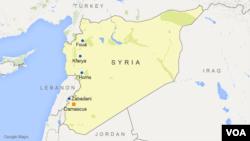 Peta wilayah Homs, Zabadani, Foua, dan Kfarya, Suriah.
