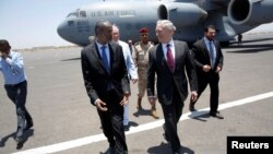 U.S. Defense Secretary Jim Mattis is greeted by Djibouti's Minister of Defense Ali Hasan Bahdon as he arrives at Djibouti-Ambouli International Airport in Ambouli, Djibouti, April 23, 2017.