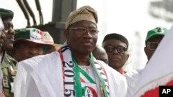 Shugaban Najeriya Goodluck Jonathan a Tafata Square.