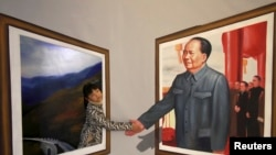 2013年12月15日在山东滨州展出的一幅毛泽东的3D 作品