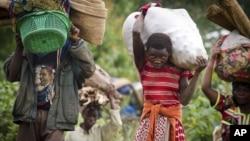 刚果难民逃向卢旺达边界,躲避刚果政府军与叛军的战难