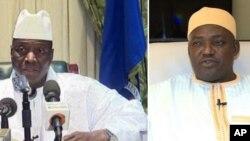 Tsohon shugaban Gambia Jammeh daga hagu da sabon shugaba Barrow daga dama