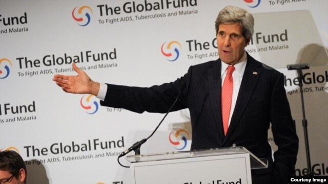 U.S. Secretary of State John Kerry says innovation and partnership in global health by the private sector are playing an increasingly important role in the fight against HIV, tuberculosis and malaria. (K. Connor/Getty Images for the Global Fund)