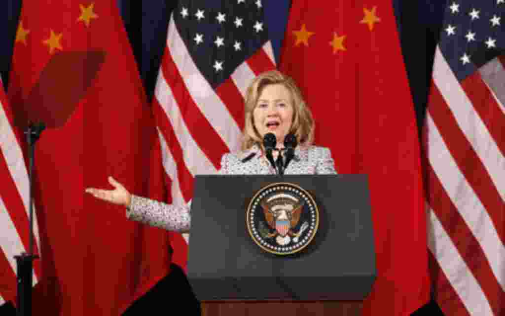 U.S. Secretary of State Hillary Clinton speaks during the third annual U.S.-China Strategic and Economic Dialogue (S&ED) at the Department of the Interior in Washington May 9, 2011. REUTERS/Kevin Lamarque (UNITED STATES - Tags: BUSINESS)