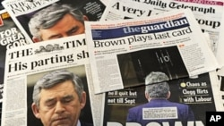"Selection of British national newspapers featuring headlines about Prime Minister Gordon Brown's decision to stand down as Labour leader, an ""important element"" in negotiations on a possible power-sharing deal, 11 May 2010"
