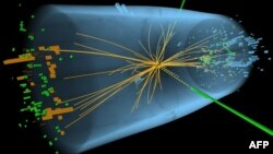 An undated handout graphic distributed on July 4, 2012 by the European Organization for Nuclear Research (CERN) in Geneva shows a representation of traces of traces of a proton-proton collision measured in the Compact Muon Solenoid (CMS) experience in the