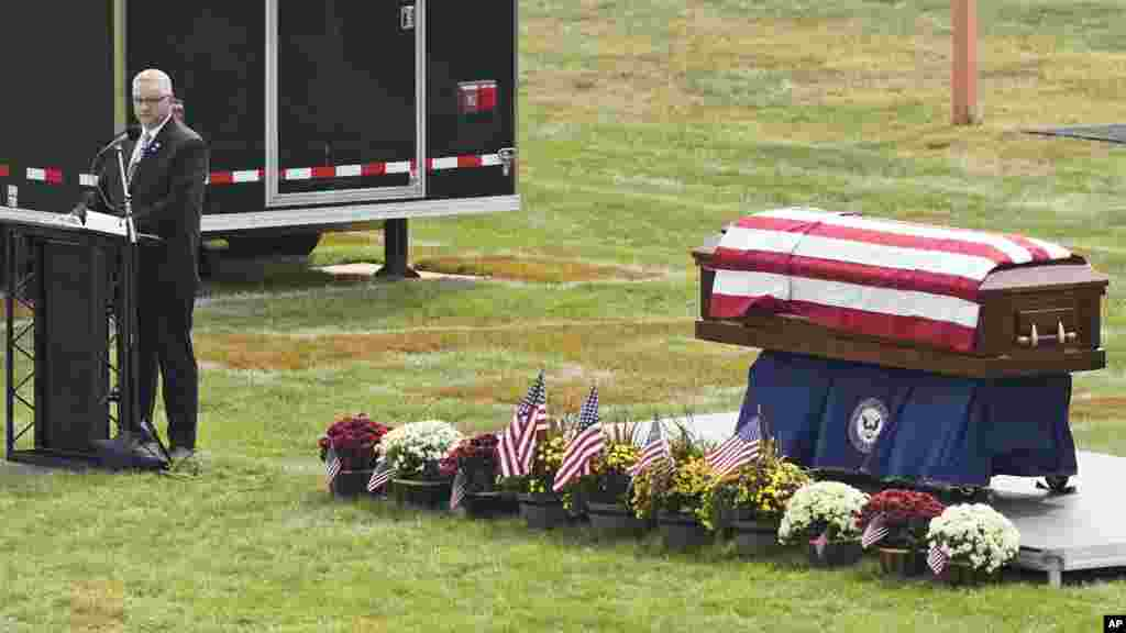 Kip Soviak speaks during the funeral of his son, Navy Corpsman Maxton Soviak, at Edison High School Stadium in Milan, Ohio.Maxton was one of 13 U.S. troops killed in a suicide bombing at Afghanistan's Kabul airport on Aug. 26.