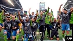 Les Seattle Sounders célèbrent leur titre de champions de la MLS, USA, le 10 novembre 2019.