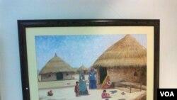 سندھ کے دیہی منظر کی عکاس ایک پینٹنگ