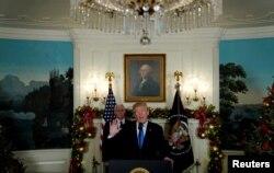 도널드 트럼프 대통령이 지난해 12월 6일 백악관에서 예루살렘을 이스라엘의 수도로 인정하는 미국 정부의 공식 입장을 발표했다.