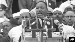 "FILE: Dr. Martin Luther King Jr., head of the Southern Christian Leadership Conference, addresses marchers during his ""I Have a Dream"" speech at the Lincoln Memorial in Washington D.C. Aug. 28, 1963. (AP Photo) Forma"