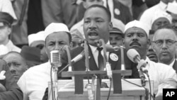 "Martin Luther King giving his famous ""I Have a Dream"" speech in 1963."