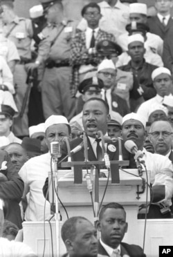 "FILE - Martin Luther King Jr., head of the Southern Christian Leadership Conference, addresses marchers during his ""I Have a Dream"" speech at the Lincoln Memorial in Washington, Aug. 28, 1963."