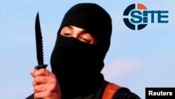 Hình ảnh Mohammed Emwazi cầm dao được cắt từ một đoạn video năm 2014 nhân được từ Tập đoàn Intel SITE ngày 26/2/2015.
