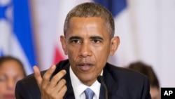 美國總統奧巴馬4月10日子美洲峰會上。