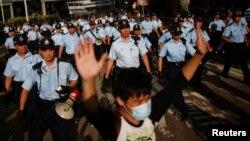 Sinh viên Hồng Kông xuống đường biểu tình đòi dân chủ gần trụ sở chính phủ, ngày 29/9/2014.