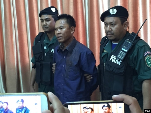 Suspected murderer named Choub Somlab was presented to reporters in the police headquarter in July 10th, 2016.