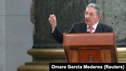 Chủ tịch Cuba, Raúl Castro, phát biểu trong một buổi lễ tại La Habana, Cuba, ngày 24/2/2018.