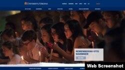 북한에 억류됐다 혼수상태로 송환된 후 사망한 미국인 대학생 오토 웜비어 씨를 애도하는 촛불집회가 20일 웜비어 씨의 모교인 버지니아주립대에서 열렸다. 이 대학 홈페이지 첫 화면에는 촛불집회에 참석한 학생들의 사진이 게재됐다.