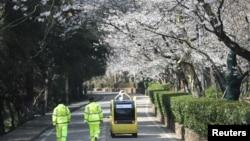 保安人員跟隨一輛5G自動汽車在關閉的武漢大學內拍攝盛開的櫻花。(2020年3月17日)