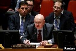 Duta Besar Rusia untuk Perserikatan Bangsa-Bangsa, Vasily Nebenja, berbicara dalam pertemuan Dewan Keamanan di markas besar Perserikatan Bangsa-Bangsa di New York. (Foto: dok).
