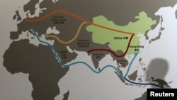 This map shows China's Belt and Road Initiative at the Asian Financial Forum in Hong Kong, Jan. 18, 2016. China hopes the development project will increase it's influence in the Middle East.