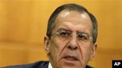 Russian Foreign Minister Sergey Lavrov speaks during a news conference in Moscow, Russia, 13 Jan 2011