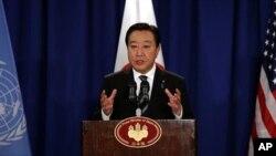 26일 뉴욕에서 기자회견 중인 노다 요시히코 일본 총리.