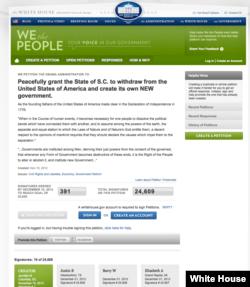 德克萨斯州民众在白宫网站上的请愿书(白宫网站)