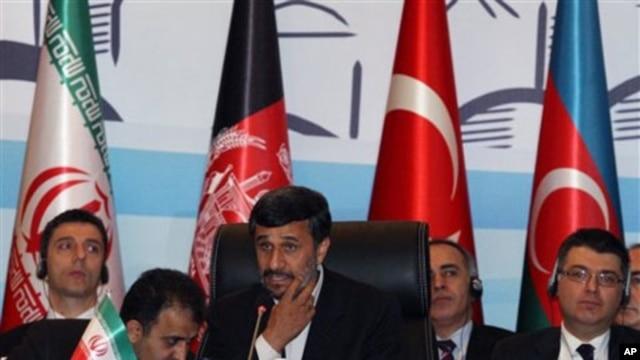 President Mahmoud Ahmedinejad of Iran speaks during the meeting of the Economic Cooperation Organization, in Istanbul, Turkey, 23 Dec 2010
