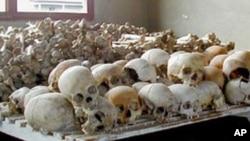 Crânes de victimes du génocide à l'Ecole Technique de Murambi, Rwanda