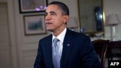 美國總統奧巴馬在一次每週例行講話的錄制中
