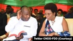 Perezida w'Uburundi Evariste Ndayishimiye na Madamu wiwe mu gikorane ca CNDD-FDD