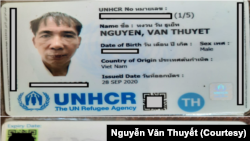 Thẻ tỵ nạn của Nguyễn Văn Thuyết do Cao Ủy Tỵ Nạn Liên Hiệp Quốc cấp
